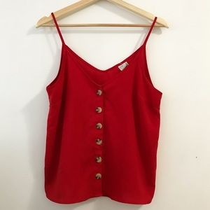 🍒 Cherry Red Tank with Turtoise Buttons BNWOT
